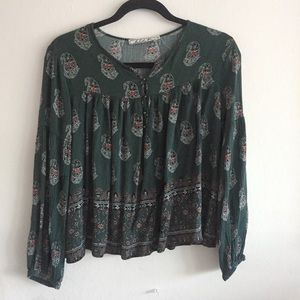 Forest Green Paisley Flowy Top
